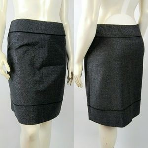 THEORY Gray Shimmering Silver Wool Blend Skirt